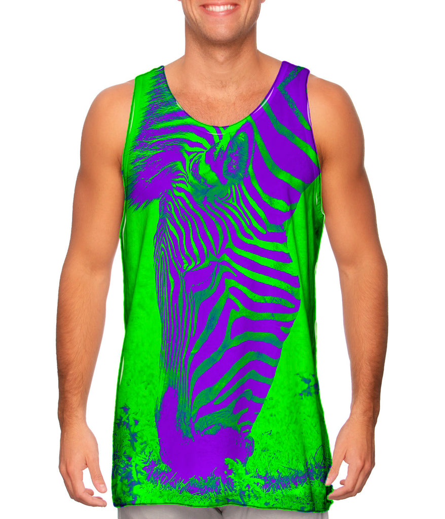 Neon purple green zebra mens tank top yizzam for Neon green shirts for men