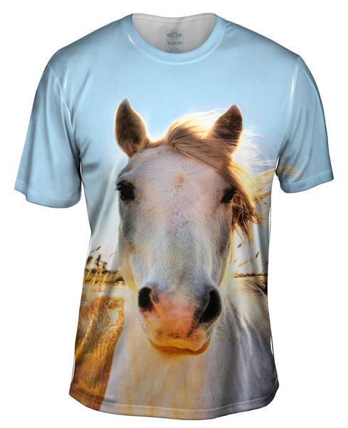 White Horse Portrait Mens T-Shirt
