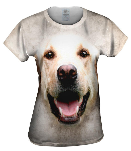 Happy Golden Labrador Dog Face Womens Top