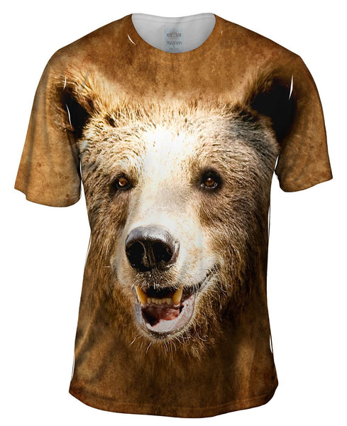 Happy Brown Bear Face Mens T-Shirt