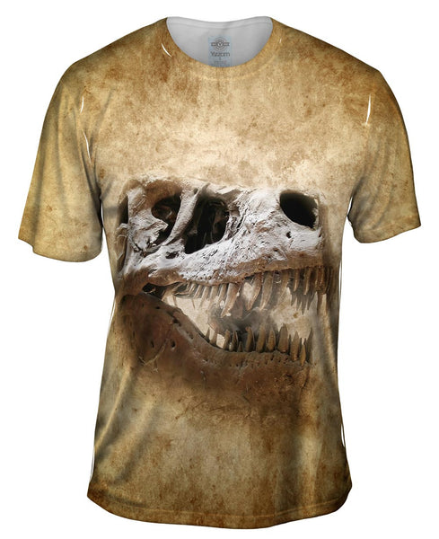 Smiling Skeletal T Rex Dinosaur Face Mens T-Shirt