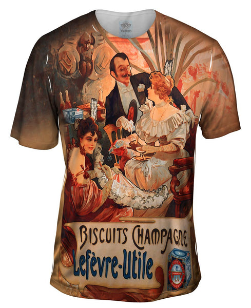 "Alphonse Mucha - ""Biscuits Champagne Lefèvre-Utile"" (1896) Mens T-Shirt"