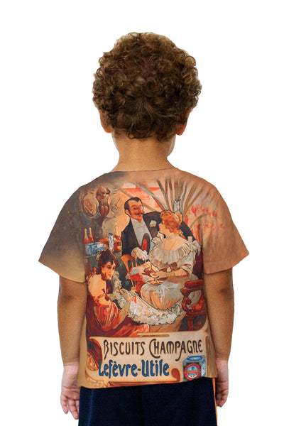 "Kids Alphonse Mucha - ""Biscuits Champagne Lefèvre-Utile"" (1896) Kids T-Shirt"