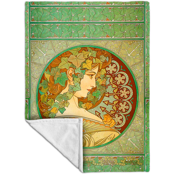 "Alphonse Mucha - ""Laurel"" (1901) Fleece Blanket"