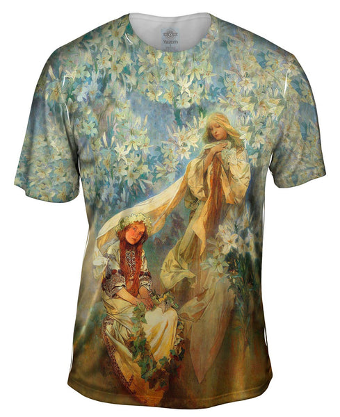 "Alphonse Mucha - ""Madonna of the Lilies"" (1905) Mens T-Shirt"