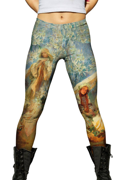 "Alphonse Mucha - ""Madonna of the Lilies"" (1905) Womens Leggings"
