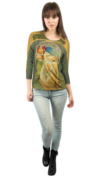 Alphonse Mucha-Princess Hyacinth-1911 Womens 3/4 Sleeve