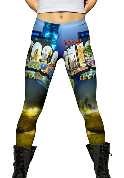 Greetings from Chicago Illinois 052 Womens Leggings