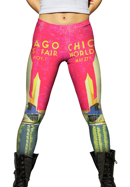 Chicago Worlds Fair Poster 056 Womens Leggings