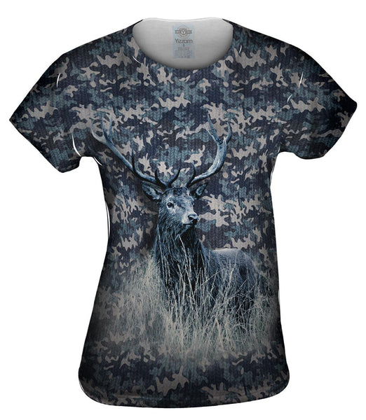 Navy Camouflage Deer Womens Top