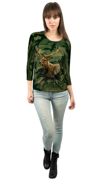 Torn Green Elk Womens 3/4 Sleeve