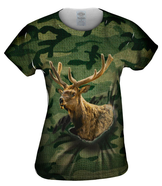Torn Green Elk Womens Top