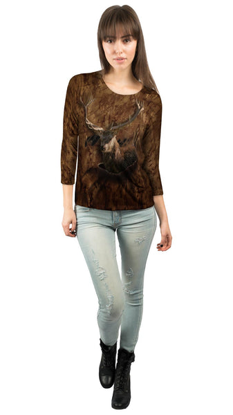 Torn Cafe Deer Womens 3/4 Sleeve