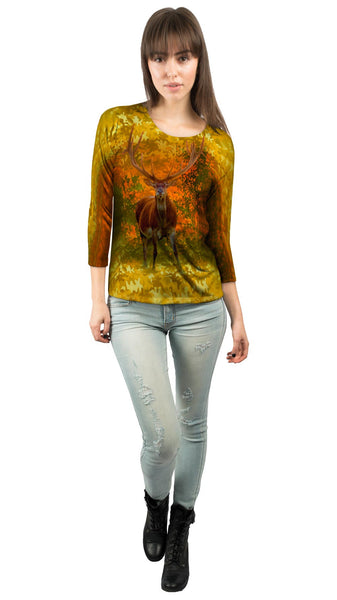 Camouflage Amarillo Deer Womens 3/4 Sleeve