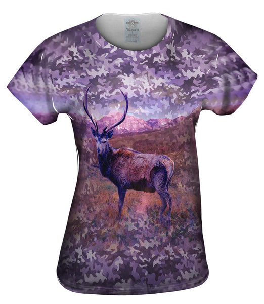 Camouflage Violet Deer Womens Top