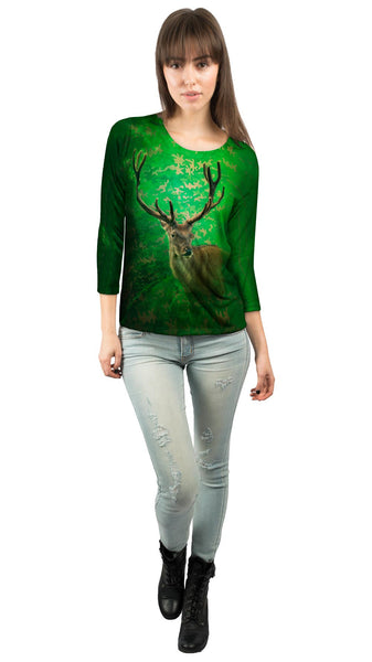 Camouflage Emerald Deer Womens 3/4 Sleeve