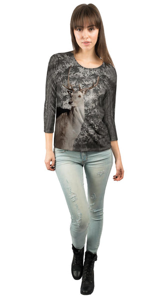 Camouflage Grey Deer Womens 3/4 Sleeve