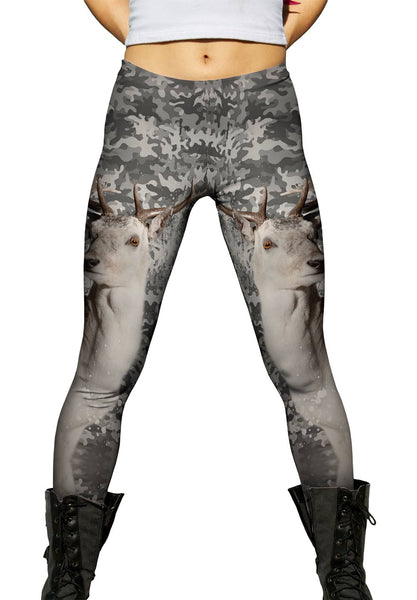 Camouflage Grey Deer Womens Leggings