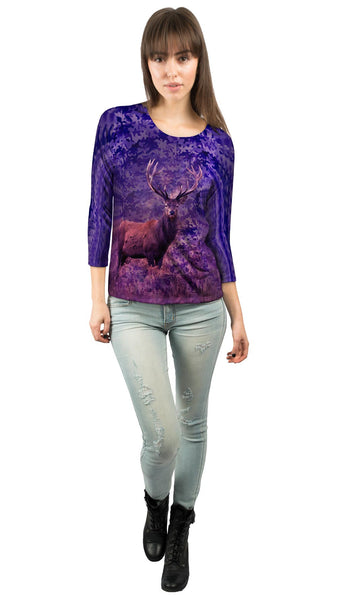 Camouflage Starlight Deer Womens 3/4 Sleeve
