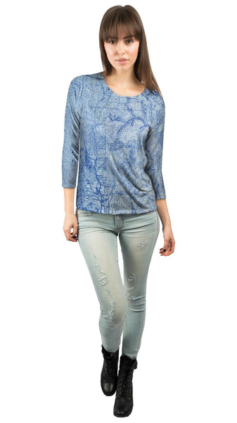 Topography Map Womens 3/4 Sleeve