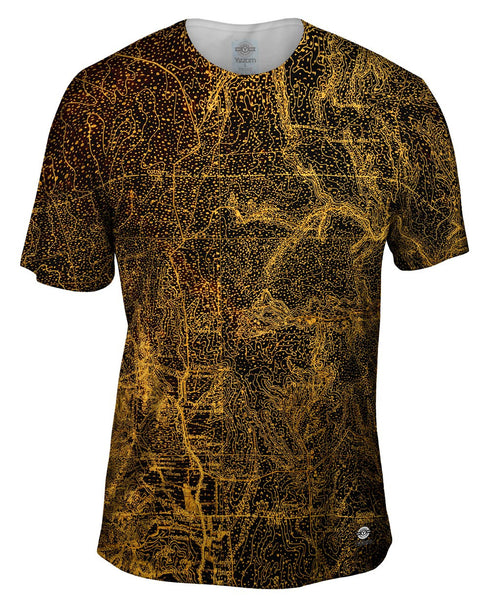 Topography Map Gold Mens T-Shirt