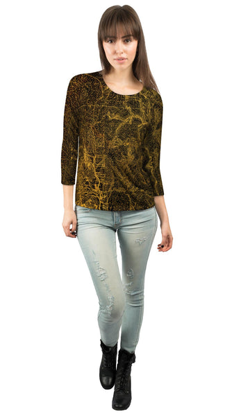 Topography Map Gold Womens 3/4 Sleeve