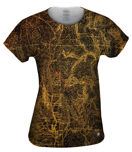 Topography Map Gold Womens Top
