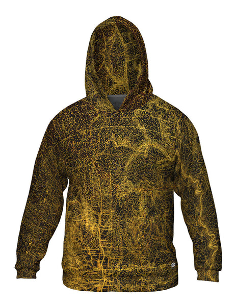 Topography Map Gold Mens Hoodie Sweater