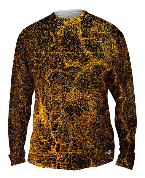 Topography Map Gold Mens Long Sleeve