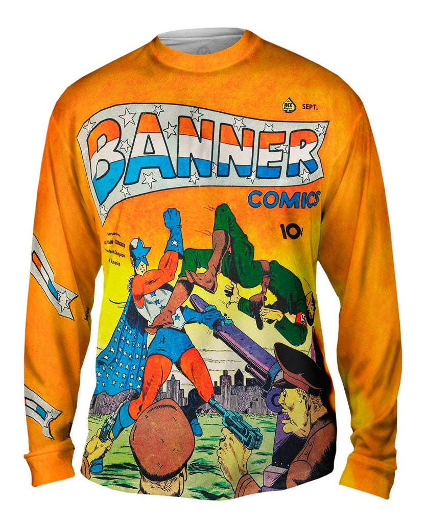 cf5a173b466 Captain Courage Comic Retro Mens Long Sleeve | Yizzam