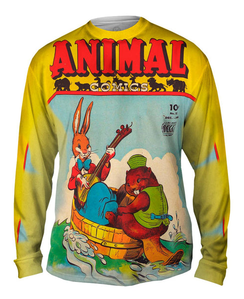 Bunny Beaver Joy Comic Retro Mens Long Sleeve