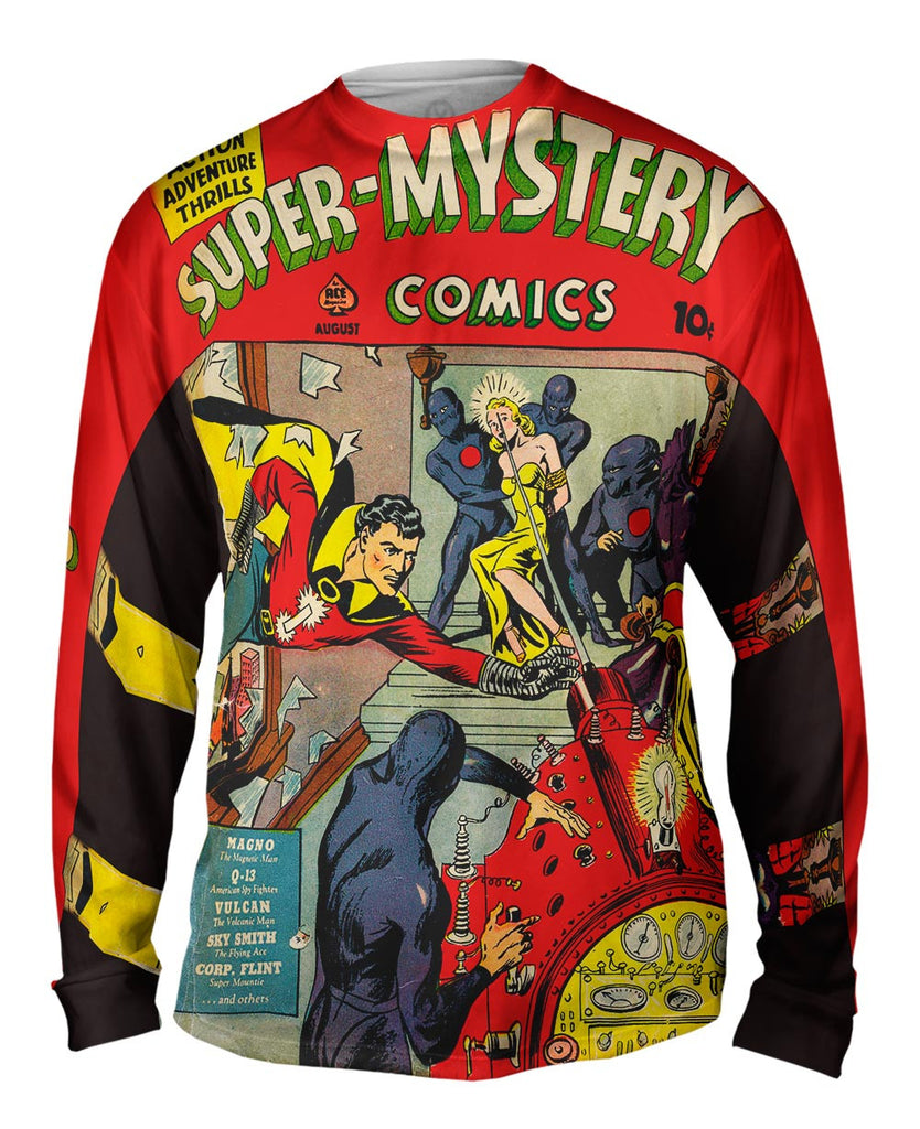 3de3fc73a11 Lady in Distress Comic Retro Mens Long Sleeve | Yizzam