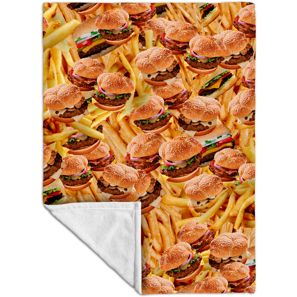 Hamburgers and Fries Fleece Blanket