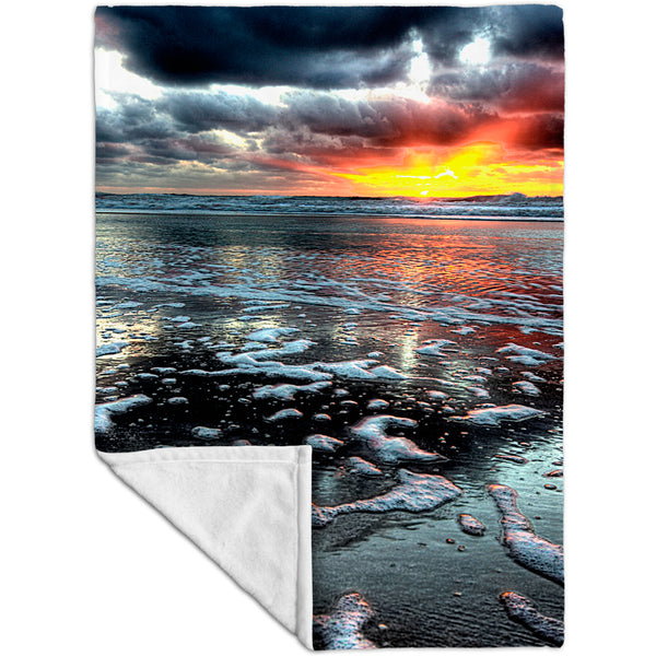 Beach Sunset Shore Fleece Blanket