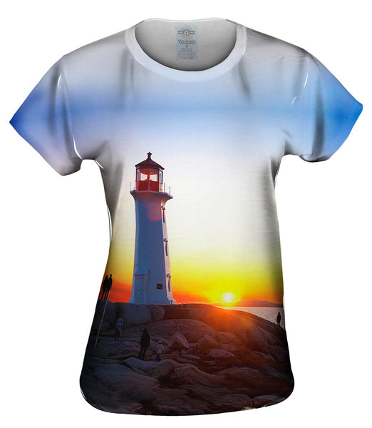 Lighthouse Sunset Womens Top