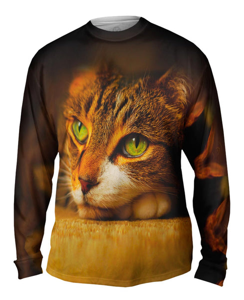 Calm Cute Cat Mens Long Sleeve