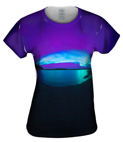 Aurora Borealis Sky Purple Womens Top