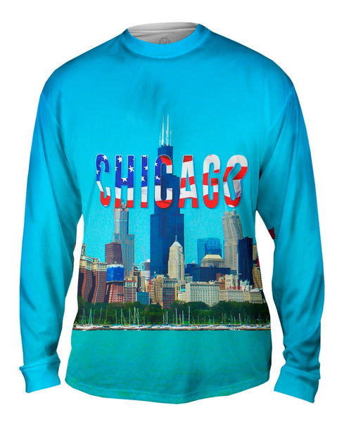 Chicago Pride Willis Tower And Marina Mens Long Sleeve