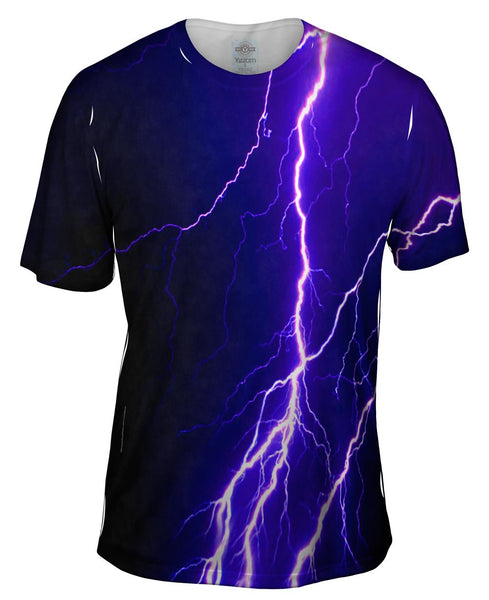 Violet Lightning Storm Mens T-Shirt