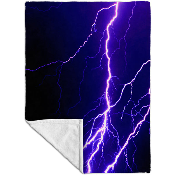 Violet Lightning Storm Fleece Blanket