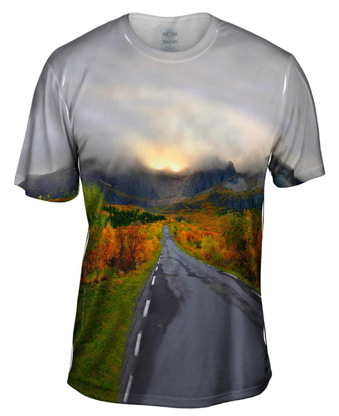 Mountain Sunset Norway Mens T-Shirt