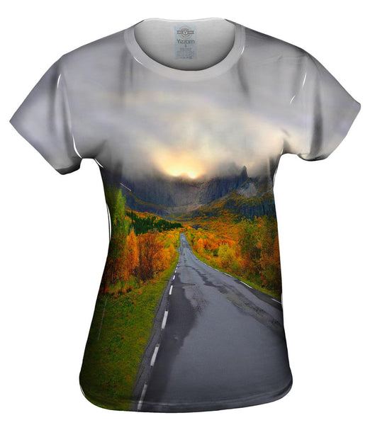 Mountain Sunset Norway Womens Top