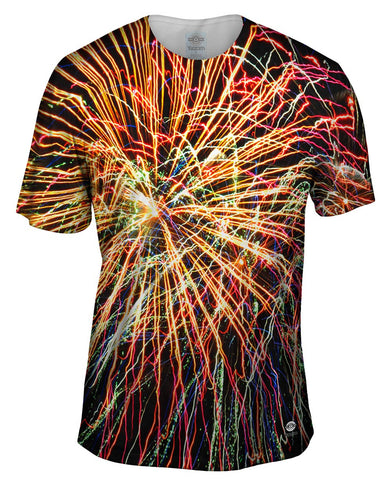 Mens Hoodie Sweater Allover Print Fourth of July Fireworks Glory Yizzam