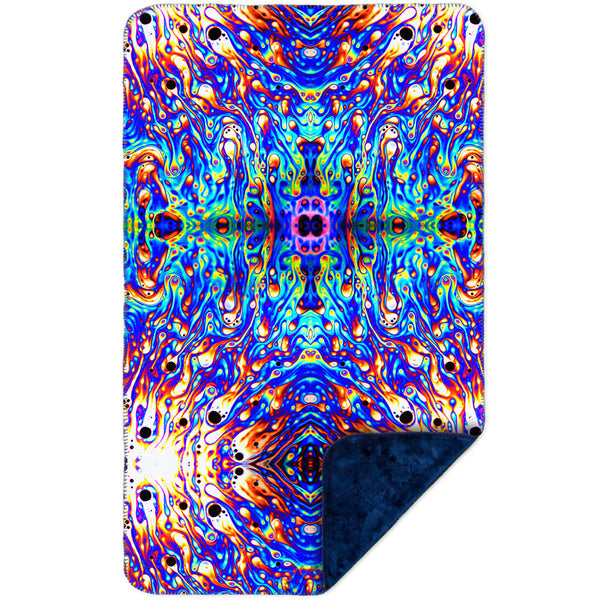 Psychedelic Neon Soap Party Violet MicroMink(Whip Stitched) Navy