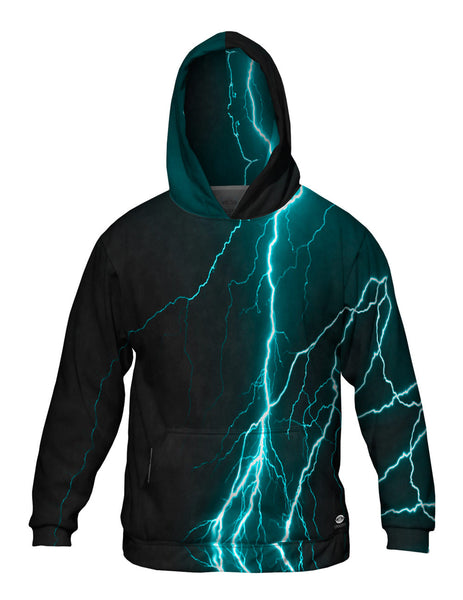 Lightning Storm Turquoise Mens Hoodie Sweater