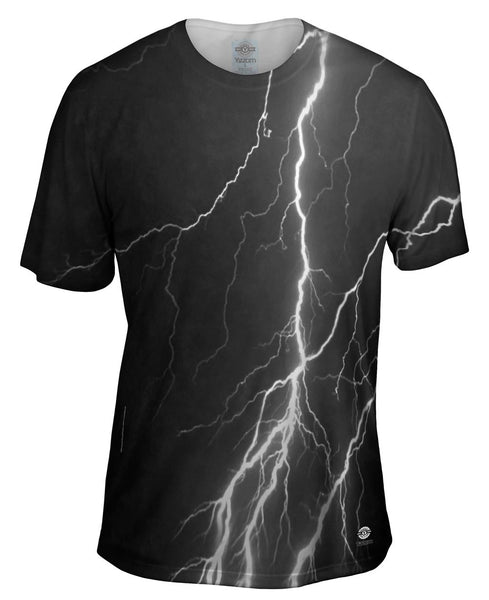 Lightning Storm Black White Mens T-Shirt