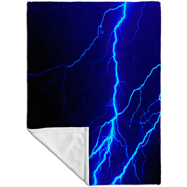 Lightning Storm Blue Fleece Blanket
