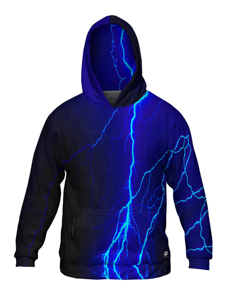 Lightning Storm Blue Mens Hoodie Sweater