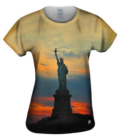 Statue Of Liberty Golden Sunset