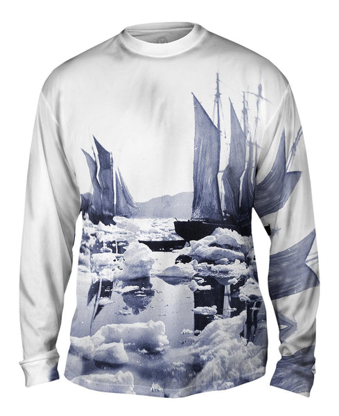 Sailing Ships In An Ice Field Mens Long Sleeve